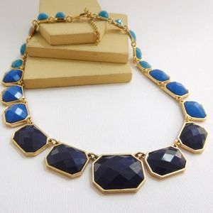 Jewelry - Navy Royal Turquoise Blue Accent Gold Necklace